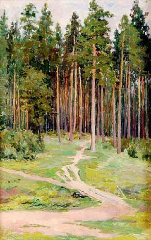 Konstantin Morozov  (1894–1990). Forest. 1927. Oil on cardboard