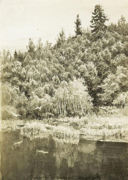 Konstantin Morozov (1894 - 1990). Dusk. 1960. Paper, ink, pen, watercolor
