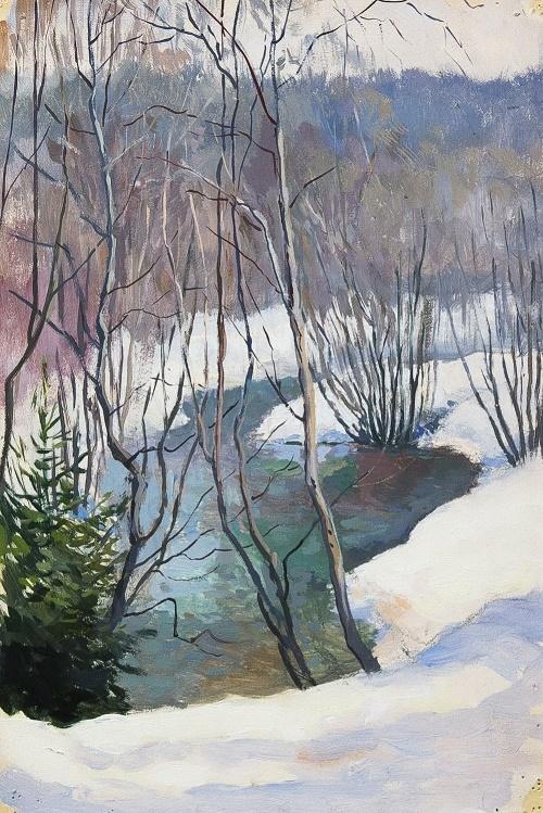 Konstantin Morozov (1894 - 1990). Early spring. 1960. Gouache on paper