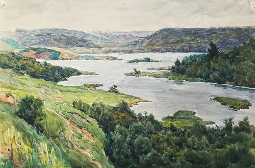 Konstantin Morozov (1894 - 1990). River. 1960. Paper, graphite pencil, watercolor