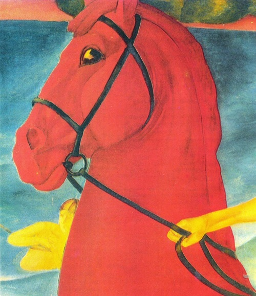 Kuzma Petrov-Vodkin. Bathing the Red Horse. Fragment. Oil. 1912. The State Tretyakov Gallery