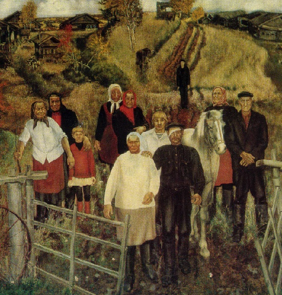 Last villagers of Rusinovo. 1979. Fragment of painting. Soviet artist Viktor Harlov