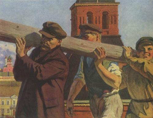 Lenin on subbotnik in Kremlin