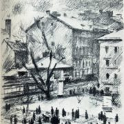 Leningrad. Bolshoi Avenue of Vasilievsky Island. Lithography. 1935