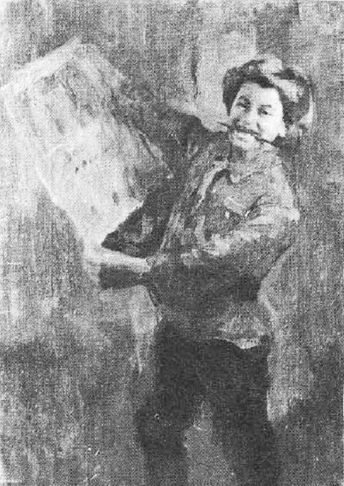 N. Kasatkin (1859-1930). Pioneer with a picture in his hand. Sketch for the painting 'Wall newspaper' Oil. 1927