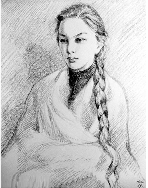 Nadezhda Krupskaya in Soviet Art. Nikolay Zhukov (1908-1973). Portrait of Nadezhda Krupskaya. Pencil. 1969