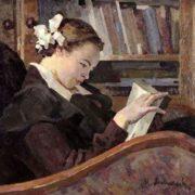 Nina Anikeyeva reading. 1958