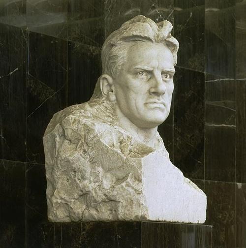 Portrait of Vladimir Mayakovsky - a pedestal on the Mayakovskaya metro station. Marble, granite, 1965