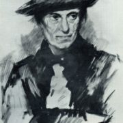Portrait of mother. Black watercolor. 1930
