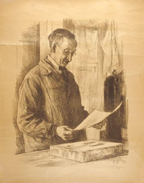 Portrait of printer I.M.Pozhiltsov 1948
