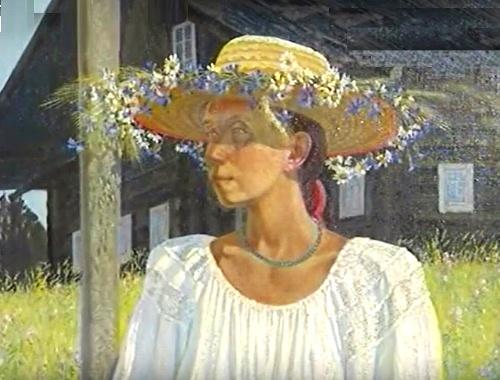 Portrait of wife. Oil