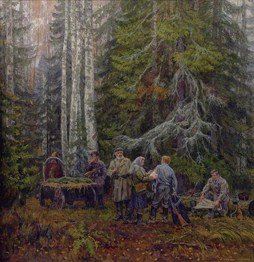 Soviet artist Gennady Daryin (1922 - 2012). From a mission, 1986-1987