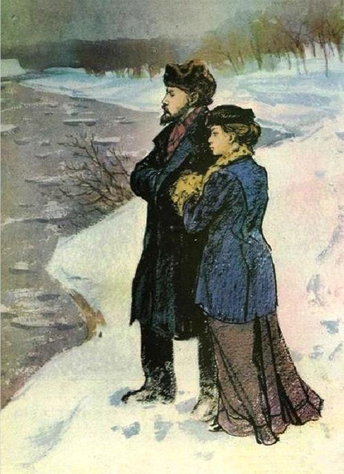 The ice is broken (Vladimir Lenin and Nadezhda Krupskaya). Painting by Soviet artist Nikolai Zhukov