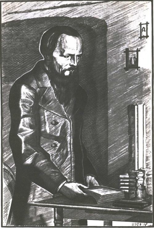 Soviet graphic artist Vladimir Favorsky (1886-1964). Fyodor Dostoevsky. Wood engraving. 1929