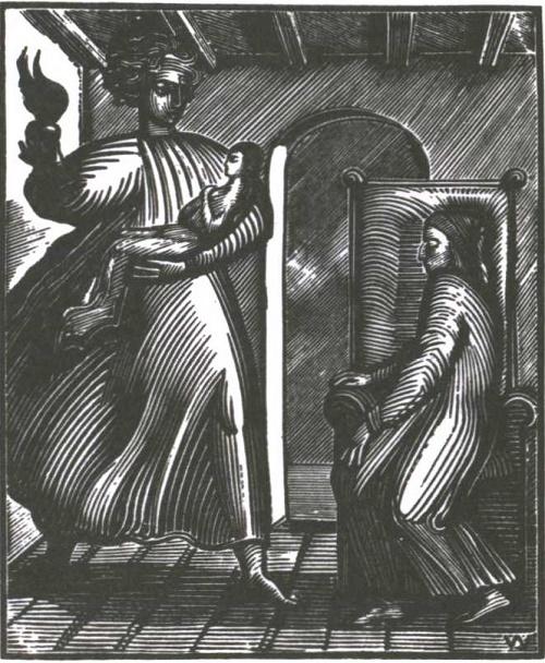 Soviet graphic artist Vladimir Favorsky (1886-1964). Illustration for 'New Life' by Dante. Wood engraving. 1933