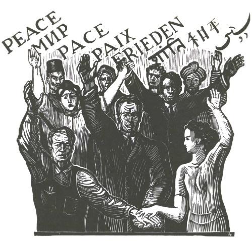 Soviet graphic artist Vladimir Favorsky. Peace. Linocut. 1961