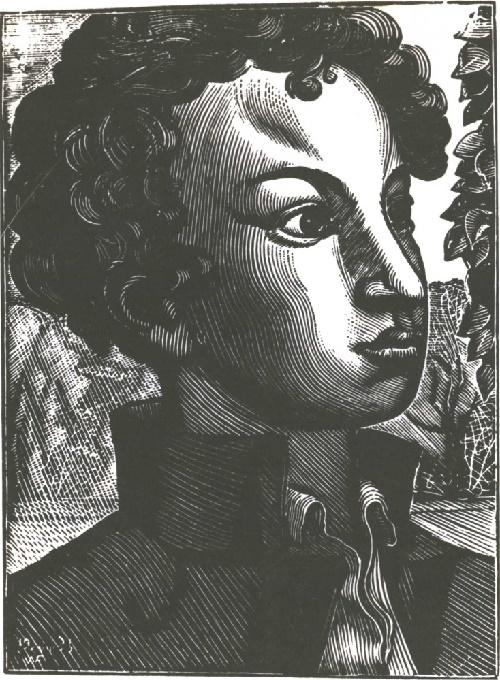 V. Favorsky. Pushkin Lyceum student. Wood engraving. 1935