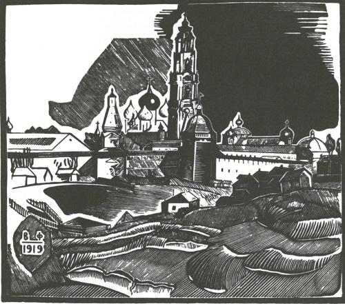 V. Favorsky. Sergiev Posad. Wood engraving. 1919