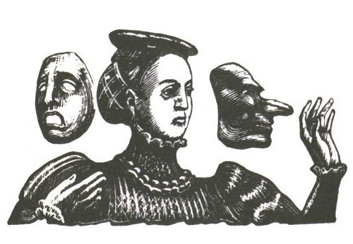 V. Favorsky. Wallpaper to Act III of the tragedy by William Shakespeare 'Hamlet'. Wood engraving