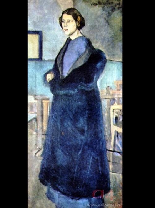V. Mayakovsky. Portrait. Woman in blue. Oil. 1912-1913
