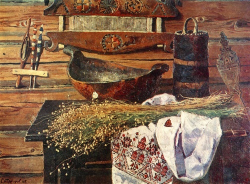 V. Stozharov. Linen. Oil on canvas, 1967. The State Tretyakov Gallery
