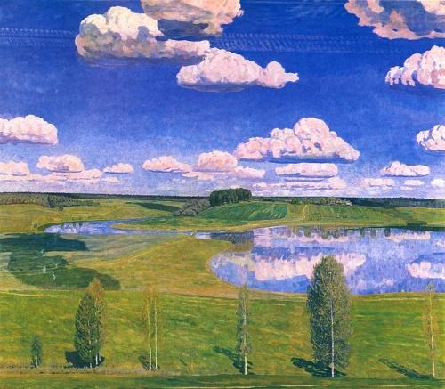 Soviet artist Valentin Sidorov. My quiet Motherland. Oil. 1980-1985