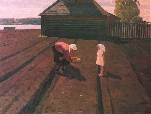 Soviet artist Valentin Sidorov. On the warm ground. 1962