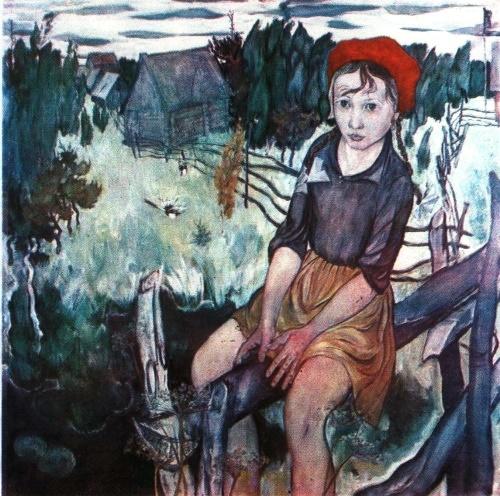 Viktor Harlov. A girl and nature. 1969. Oil on canvas