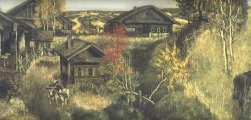 Soviet artist Viktor Harlov. Last villagers of Rusinovo. 1979. Fragment of painting