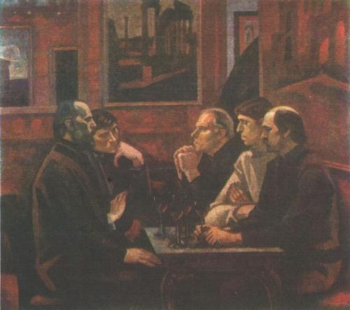 Soviet artist Viktor Ivanov. Cafe Greco. Oil. 1975