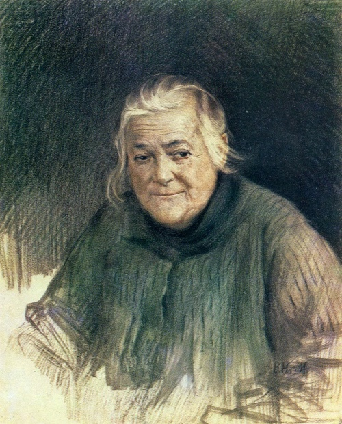 Vlasily Meshkov. Portrait of Clara Zetkin. Pencil, sanguine. Around 1928