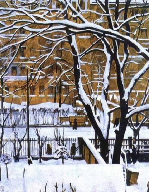 Winter landscape. Artist Georgy Vereisky