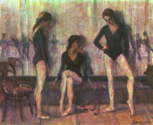 Yuri Zhdanov. Before class. Oil. 1983