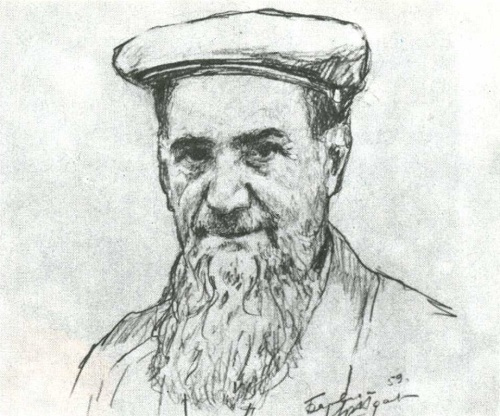 Yuri Zhdanov. Portrait of Kurchatov. Pencil. 1959