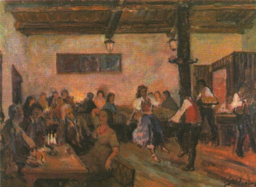 Yuri Zhdanov. Tavern in Wallachia. Oil. 1979