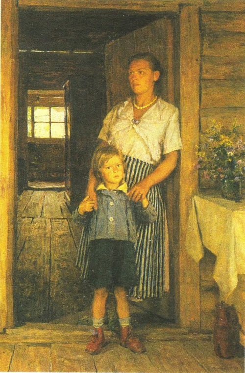 A. Gritsai. Portrait of wife with a son. 1954