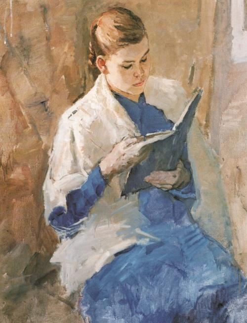 Soviet painter Andrei Gorsky. Portrait of V. Kandaurova. 1951. The property of the artist