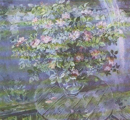 B. Shamanov. Wild rose after rain. Oil. 1984