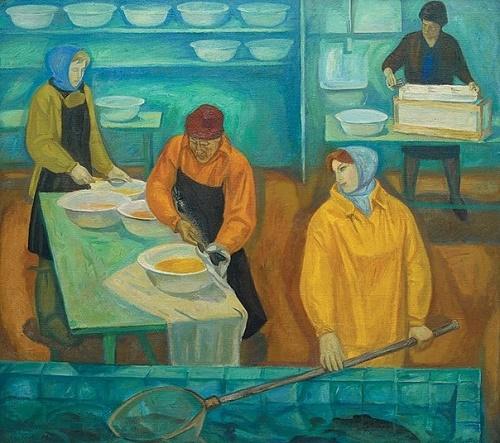Boris Okorokov (1933-2005) Fish shop. 1973