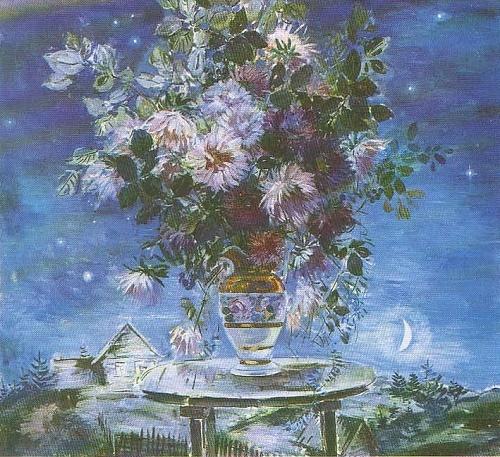 Painting flowers Soviet artist Boris Shamanov. Night. Asters. Oil. 1979