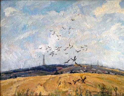 Crows. Cardboard, oil. 1970s. Soviet artist Anatoly Yudin