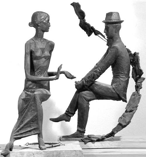Dialogue (Anna Akhmatova and Nikolai Gumilev). Bronze, 2001. Sculptor Vladimir Tishin