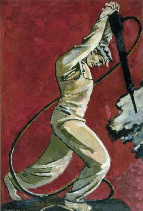 Soviet artist Vasily Hvostenko. Driller. 1958