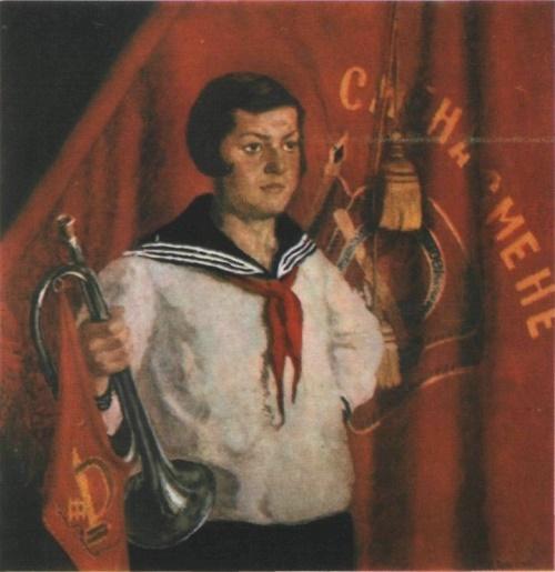 Soviet painter Ilya Mashkov. Pioneer with a horn. Oil. 1933