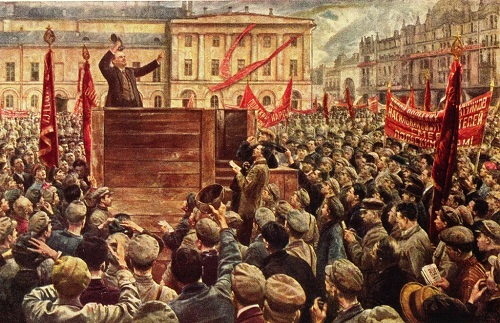 Isaac Brodsky (1884-1939). Speech by Lenin before the Red Army, sent to the Polish front May 5, 1920. 1933. Oil on canvas. The Central Lenin Museum