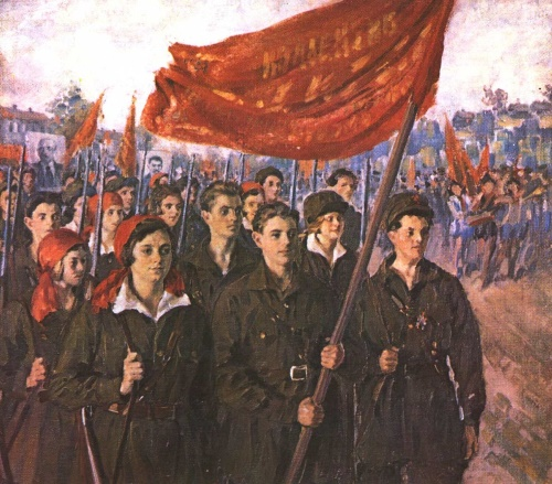 Ivan Kulikov (1875-1941). International Youth day. Oil. 1928