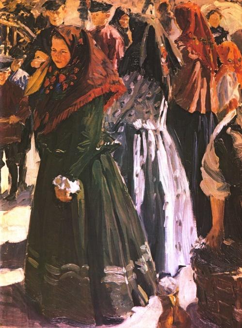 Ivan Kulikov (1875-1941). On a holiday. Oil. 1906