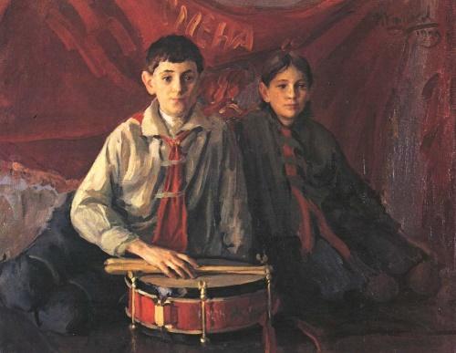 Soviet Russian artist Ivan Kulikov (13 April 1875 - 15 December 1941). Pioneers. Oil. 1929