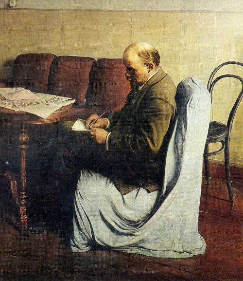 Socialist Realism artist Isaak Brodsky (6 January 1884 – August 14, 1939). Lenin in Smolny. Oil. 1930