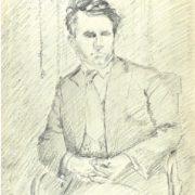 Male portrait. 1940s. Pencil, paper